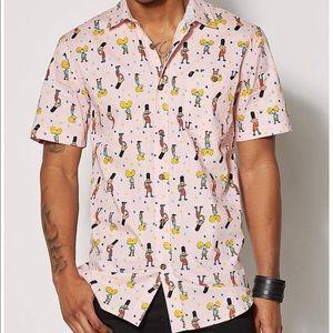 HEY Arnold Men's XL Pink Button Up Shirt EUC